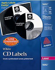 Etiquetas para CD para Impresoras Laser x 10 hojas (AVE15692)