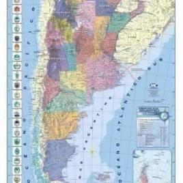 Mapa Republica Argentina Mapas murales entelados o laminados sobre superficie de corcho. Marco de aluminio acanalado.Incluye elementos de fijación a la pared. 95 x 130 cm.
