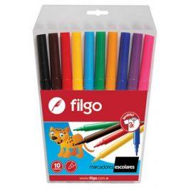 Marcadores escolares Filgo estuche x 10 unidades varios colores