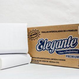 Toallas intercaladas blancas 4 pliegos x 2500 unidades marca elegante