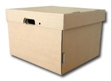 Caja de archivo N5 carton corrugado reforzada tapa incorporada ( 26.5cm alto x 43cm largo x 33 cm ancho)