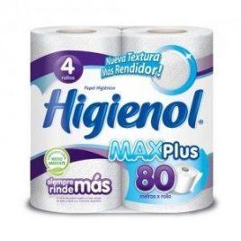 Papel higienico HIGIENOL MAX 80mt  4 unidades