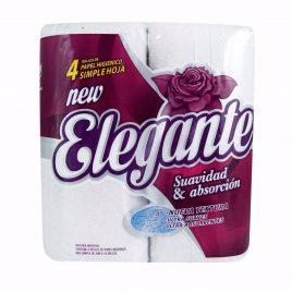 Papel higienico Elegante hoja simple x 30 mt x 4 unidades